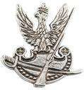 Polski orzeł wojskowy z szablą i karabinem wpinka