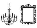 Naklejka na ścianę Lustro, Ramka, Żyrandol , Dekor