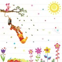 Duże naklejki ścienne Kubuś Puchatek kwiaty słonko