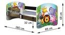Łóżko dziecięce 140X70 + materac WENGE ACMA Szerokość 75 cm