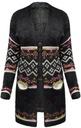 FA#003C_ Sweter Długi Ciepły Kardigan Boho Etno