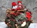 MIKOŁAJKI NA KULI Z MCHU stroik świąteczny ozdoba
