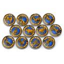 KASZMIR zestaw 12 monet zodiak chiński kolorki
