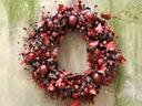 KARMINOWY WIANEK stroik świąteczny dekoracja liści