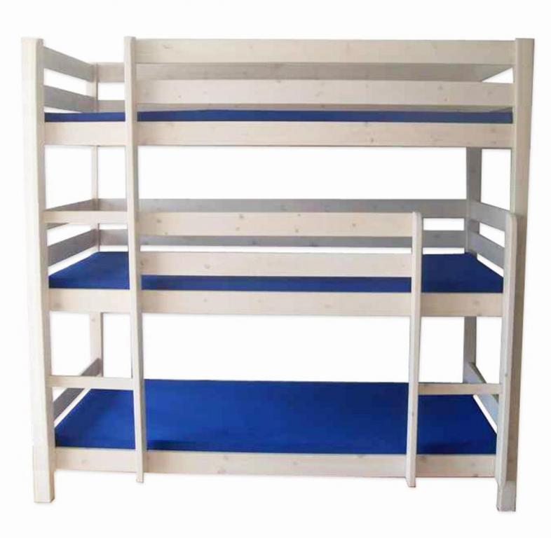 łóżko Piętrowe 3 Osobowe Beny 3 Materace 190x80 Cm