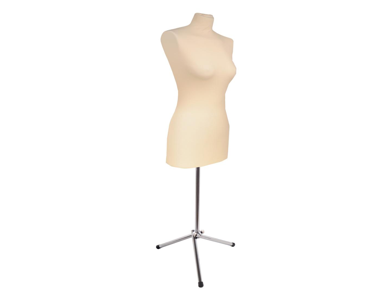 27f23306bce454 Manekin ekspozycyjny damski w koszulce ecru na metalowej nodze z rury fi 25  mm rozm. 34/36 ( 1 szt.,)