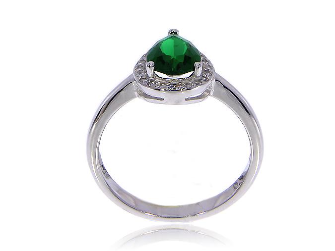 4a4e368a4da8df Prześliczny i delikatny pierścionek ze srebra rodowanego pr.0,925 ze  szmaragdową cyrkonią w kształcie migdała, którą otacza wianuszek  klasycznych ale ...