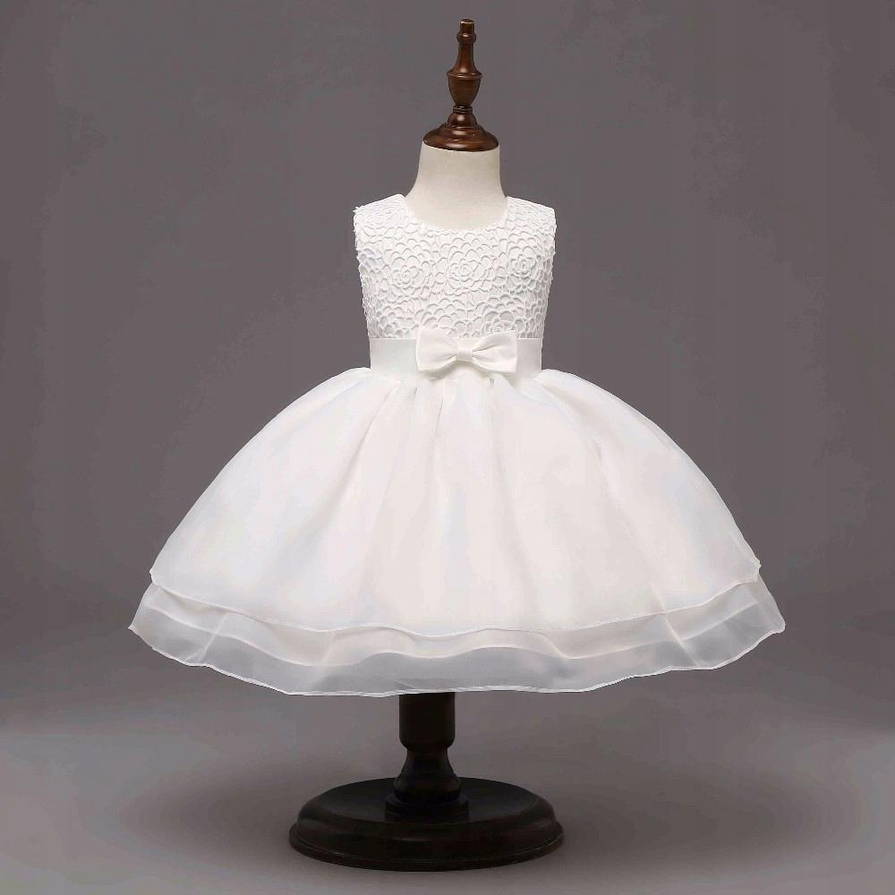 158492c5 CUDNA Sukienka na Chrzest Wesele Roczek 74-80 cm