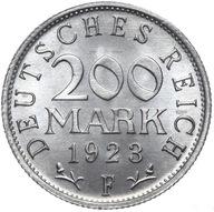 Niemcy - 200 Marek 1923 F - MENNICZA Z ROLKI