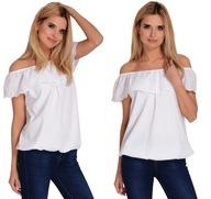 Biała Koszula bluzka HISZPANKA falbana uniwersalny