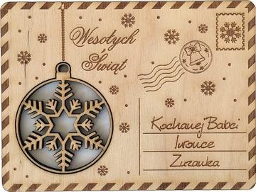 (ОТКРЫТКА деревянная с УКРАШЕНИЕ bauble #1) доставка товаров из Польши и Allegro на русском