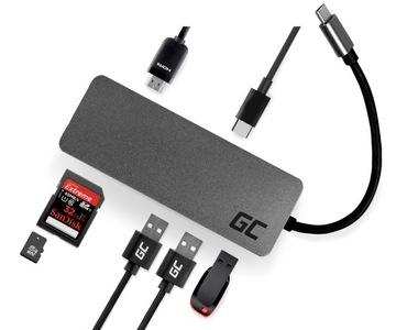 HUB Адаптер Green Cell USB-C 7w1 USB HDMI 4K SD PD доставка товаров из Польши и Allegro на русском