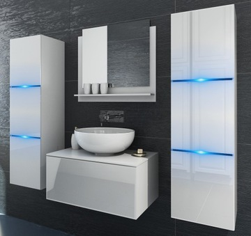 Мплект мебели для ванной комнаты белый глянцевый