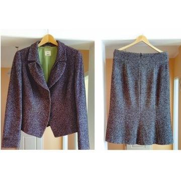 Vera Moni 2-cz kostium tweedowy jesienny r. 40/42