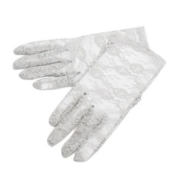 Rękawiczki koronkowe damskie krótkie - popielate