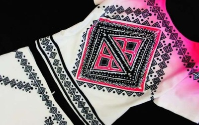 SENSILINE różowo - biała spódnica AZTECKI WZÓR 36