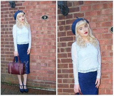 H&M - błękitny koronkowy top - bluzka - S
