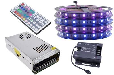 Osvetlenie nábytku LED pás - ZESTAW taśma LED 300 SMD RGB 5050 sterownik 20m