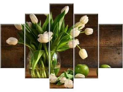 Kvety Tulipány v vázu 150x105 Maľovanie Triptych
