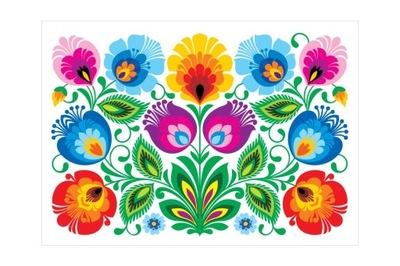 Открытка łowicka фолк - белая kodra с цветами