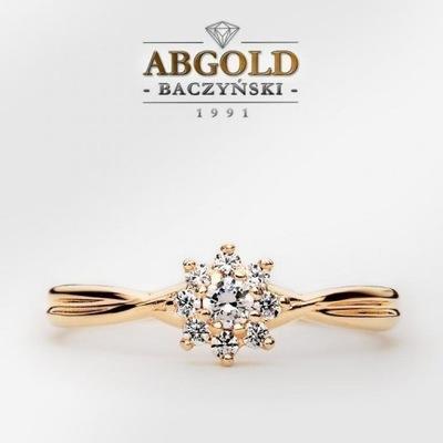 ABgold złoty pierścionek z brylantami 0,20ct w.24h