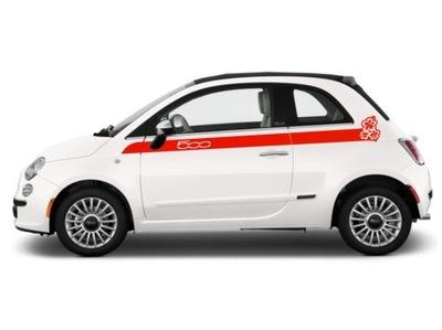 DEDYKOWANE NAKLEJKI Fiat 500 - KWIATY HIBISCUS !