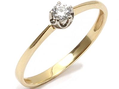 Złoty 585 Pierścionek Zaręczynowy Z Cyrkonią W24h 6401305573