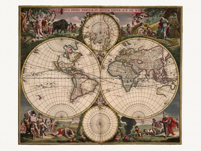 Карта Мира Фредерик де Вит 1682 года. холст