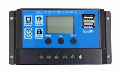 Regulátor nabíjania 20A 12V 24V PWM solárne LCD USB
