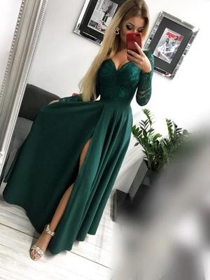 71aeebbe72 Długa sukienka z koronkową górą z nietuzinkowym de 7707395141 ...