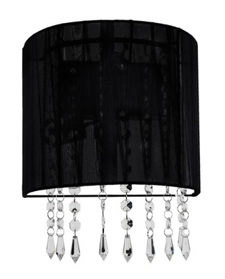 Čierne nástenné svietidlo moderného crystal glamour blak