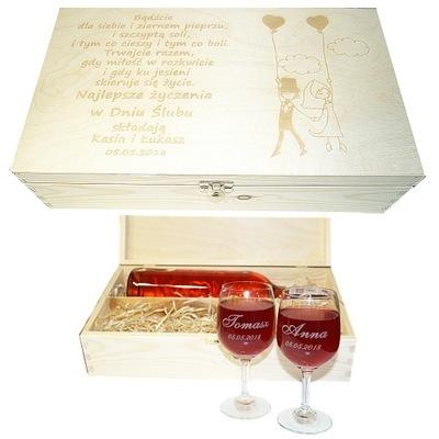 Skrzynka wino i kieliszki grawerowane PREZENT ślub