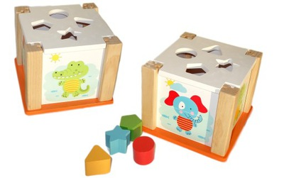 Interaktívna hračka kocky ZOO DREVENÉ KOCKY, PUZZLE VZDELÁVACIE SORTERY