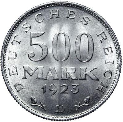 Германия - 500 Марок 1923 D - MENNICZA С ролики