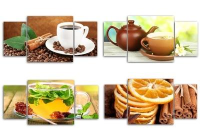 obraz/y pre kuchyňa káva, ovocie, zelenina 100x50 trypty