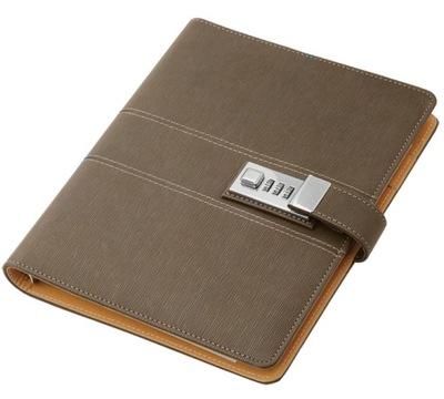 Organizer biznesowy z zamkiem szyfrowym, notatnik