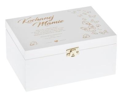 Organizér, kufrík, skrinka - PUDEKO białe Z GRAWEREM prezent DLA MAMY urodziny