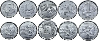 Бразилия комплект - 5 10 25 50 Сентаво 1 Real 1994