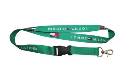 Smycz TOMMY HILFIGER turkusowa szer. 20mm dł. 52cm