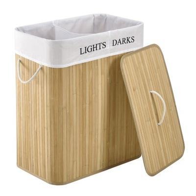 Корзина , контейнер для белья бамбуковая с крышкой 100L