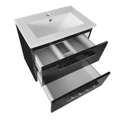 Шкаф С раковиной 50cm | черная лакированная блеск