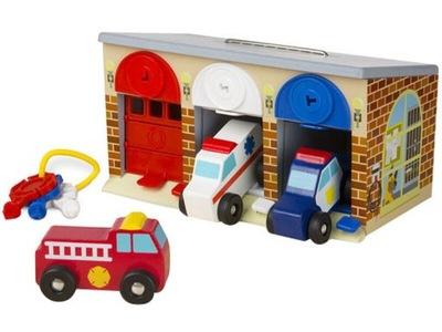 DREWNIANE AUTA Garaż Ambulans Samochody SŁUŻBOWE