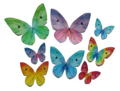 бабочки бабочки ВАФЕЛЬНЫЕ вырезанные микс 8 штук