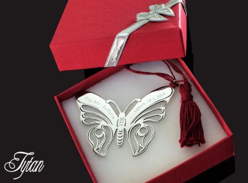 Srebrna zakładka motyl do książki prezent, grawer