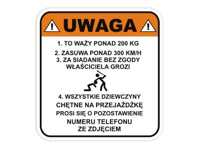 Naklejka Na Motor Motocykl Skuter Uwaga Namyslow Allegro Pl