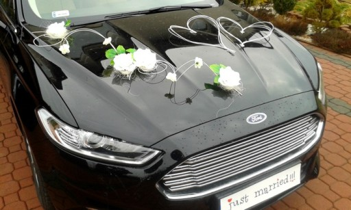 Ogromny Dekoracja samochodu ozdoby na auto do ślubu kwiaty 6724684903 JY51