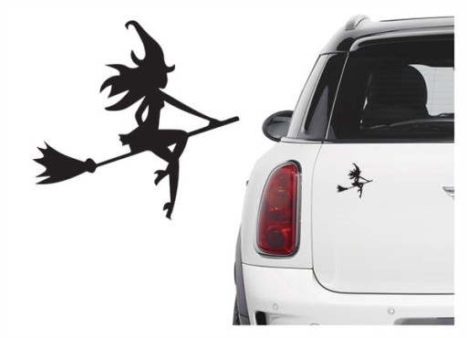 Naklejka samochodowa wiedźma czarownica