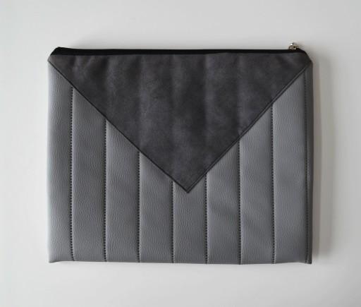 6b9bfcc8b2aae Elegancka szara torba kopertówka do ręki skórka A4 7251652807 - Allegro.pl