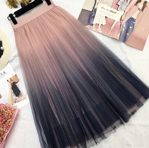 Plisowana spódnica ombre Wielobarwny
