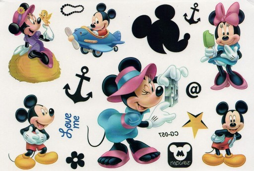 Tatuaże Zmywalne Dla Dzieci Myszka Mickey Minnie